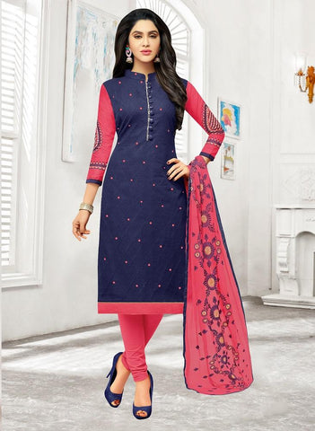 Navy Blue Color Cotton Blend UnStitched Salwar  - TMPT2205