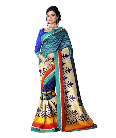 Multi Color Kalamkari Mysure Silk Saree - TMSS-2