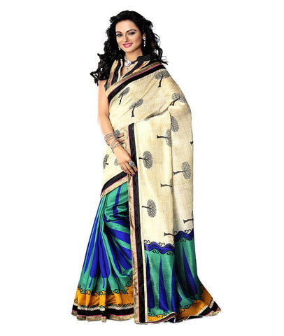 Multi Color Kalamkari Mysure Silk Saree - TMSS-5