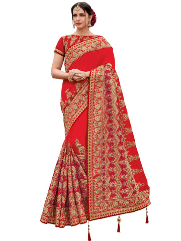 Red and Gold Color Two Tone Silk Satin Saree - TN11007