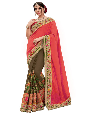 Orange and Brown Color Two Tone Silk Satin Saree - TN11013