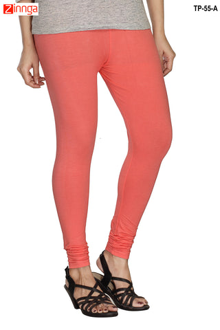 MINU FASHION- Women's Stylish Peach Color  Cotton Legging-TP-55-A
