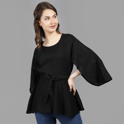 Black Color Rayon Women's Stitched Top - TP010BLACK
