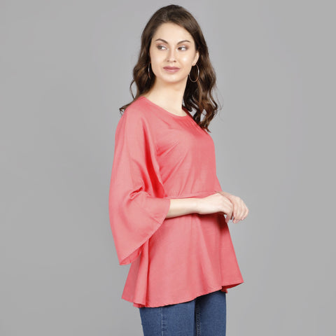 Peach Color Rayon Women's Stitched Top - TP010PEACH