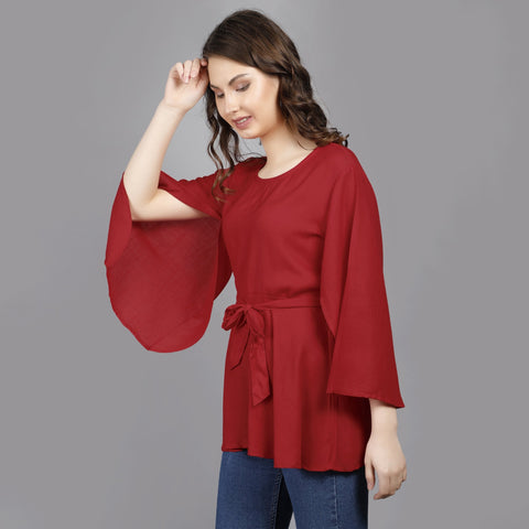 Red Color Rayon Women's Stitched Top - TP010RED