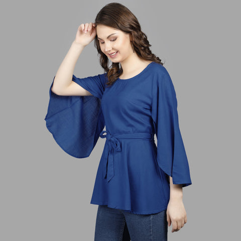 Royal Blue Color Rayon Women's Stitched Top - TP010ROYALBlUE