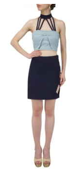Buy Blue Color Polyester Stitched Top