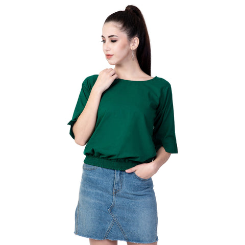 Green Color Cotton Women's Plain Top - TP01_GREEN