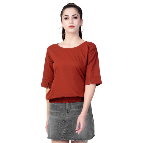 Maroon Color Cotton Women's Plain Top - TP01_MEHROON
