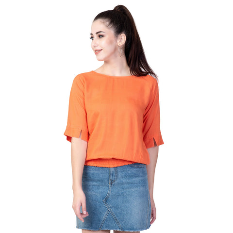 Peach Color Rayon Women's Plain Top - TP01_PEACH