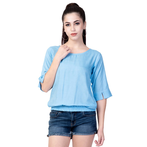 Light Blue Color Rayon Women's Plain Top - TP01_SKY