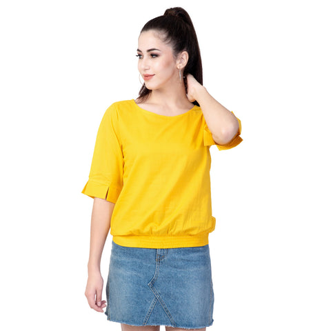 Yellow Color Cotton Women's Plain Top - TP01_YELLOW