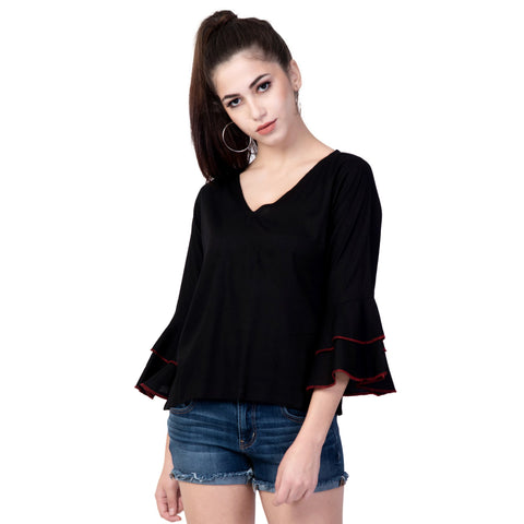 Black Color Rayon Women's Plain Top - TP02_BLACK