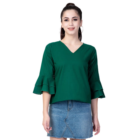 Green Color Cotton Women's Plain Top - TP02_GREEN