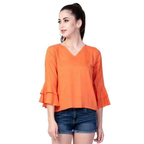 Peach Color Rayon Women's Plain Top - TP02_PEACH