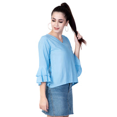 Light Blue Color Rayon Women's Plain Top - TP02_SKY