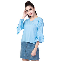 Buy Light Blue Color Rayon Women's Plain Top