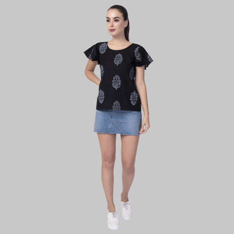 Black Color Cotton Women's Block Printed Top - TP06_BLACK