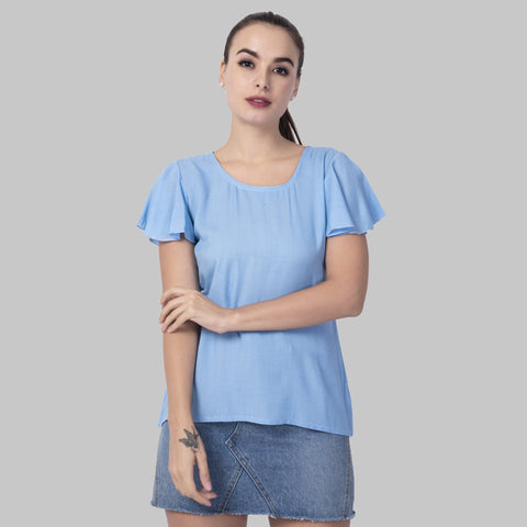 Sky Blue Color Rayon Women's Plain Top - TP06_SKY
