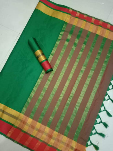 Green Color Soft Cotton Silk Saree - TPSAREE-02