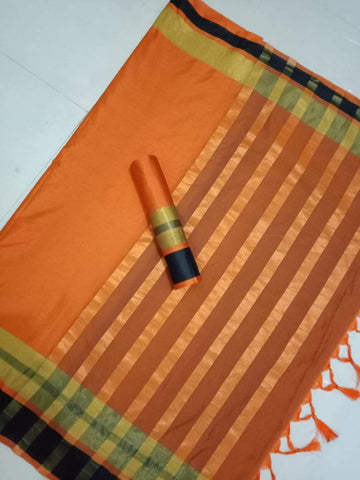 Orange Color Soft Cotton Silk Saree - TPSAREE-04