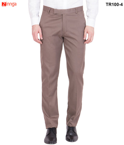 AMERICAN-ELM- Men's Cotton Formal Trouser- Light Brown- TR100-4