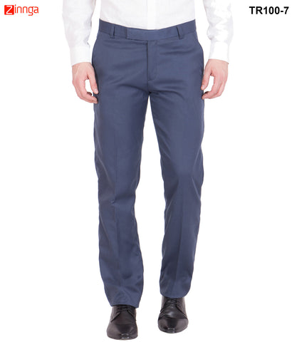 AMERICAN-ELM- Men's Cotton Classic Formal Trouser- Blue- TR100-7