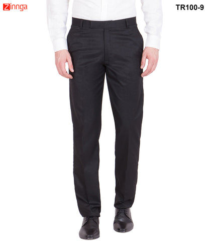 AMERICAN-ELM- Men's Solid Cotton Formal Trouser- Black- TR100-9