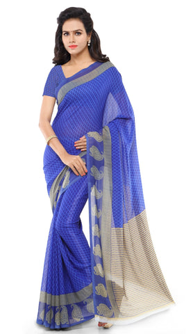Blue Color Art Silk Saree - TSAND058A
