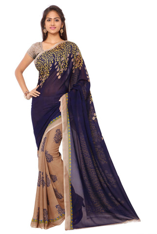 Blue and Beige Color Faux Georgette Saree - TSAND1108