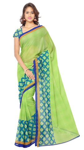 Green Color Faux Georgette Saree - TSAND1115B