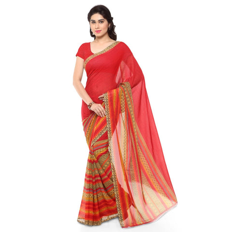Red Color Faux Georgette Saree - TSAND1164A