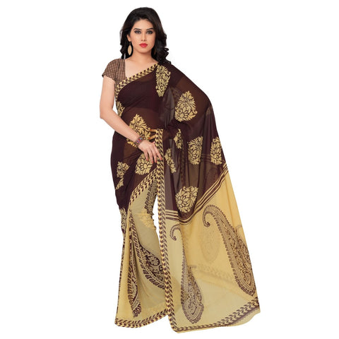 Beige Color Faux Georgette Saree - TSAND977A