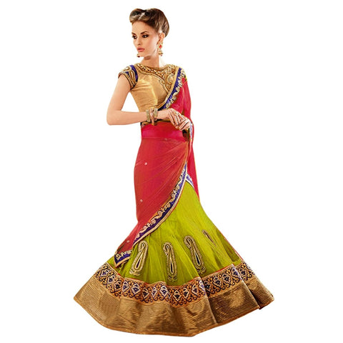 Green And Red Color Art Silk And Net Saree  - TSFL5618