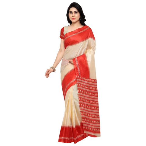 White and Red Color Silk Saree - TSKJ13354