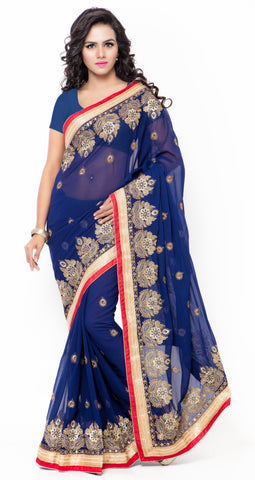 Blue Color Satin and Chiffon Saree - TSMZ1058