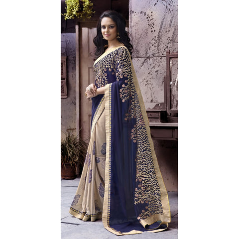 Beige Color Faux Georgette Saree - TSN72007