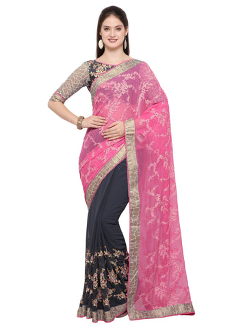 Grey Color Faux Georgette Saree - TSN97075