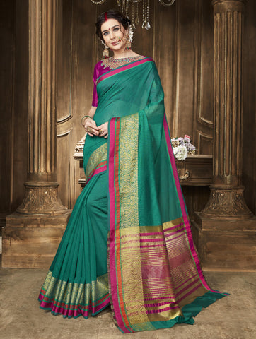 Green Color Blend Cotton Saree - TSNABS6701