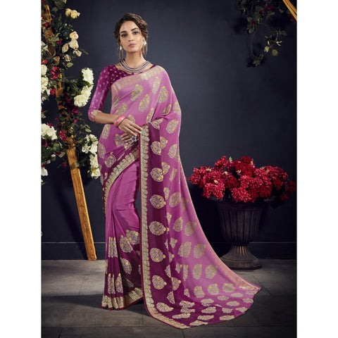 Purple Color Crape Saree - TSNAE63001