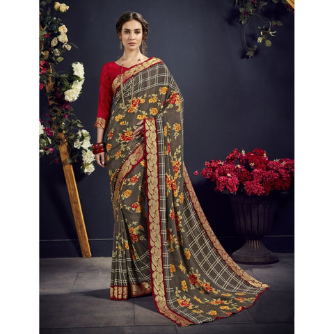 Light Grey Color Crape Saree - TSNAE63002