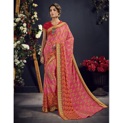 Pink Color Crape Saree - TSNAE63003