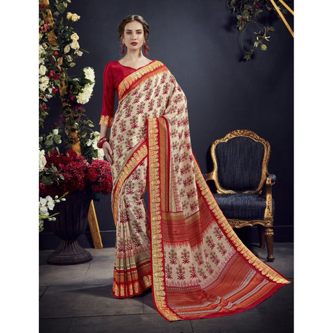 Off White Color Crape Saree - TSNAE63010