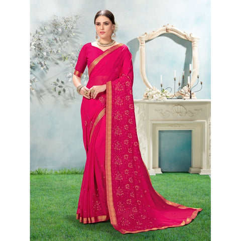 Pink Color Chiffon Saree - TSNANY63001