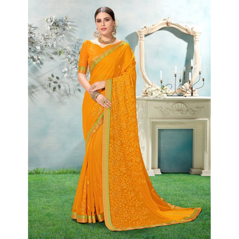 Yellow Color Chiffon Saree - TSNANY63002