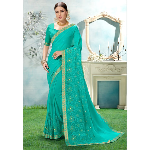 Sea Blue Color Chiffon Saree - TSNANY63003
