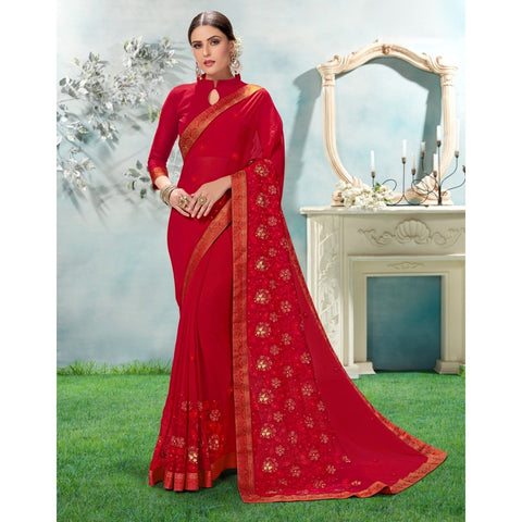 Maroon Color Chiffon Saree - TSNANY63004