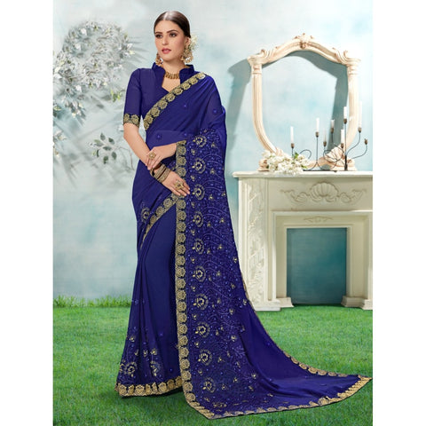 Navy Blue Color Chiffon Saree - TSNANY63005