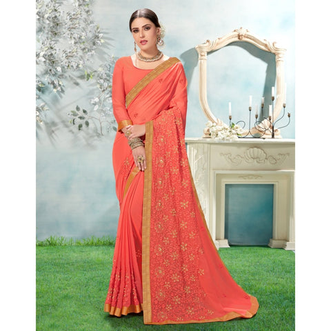 Peach Color Chiffon Saree - TSNANY63006