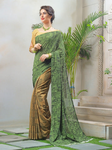 Beige and Gold Color Faux Georgette Saree - TSNAY15122